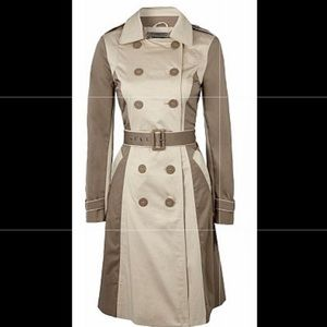 Ben de Lisi Two Tone khaki tan belted trench coat
